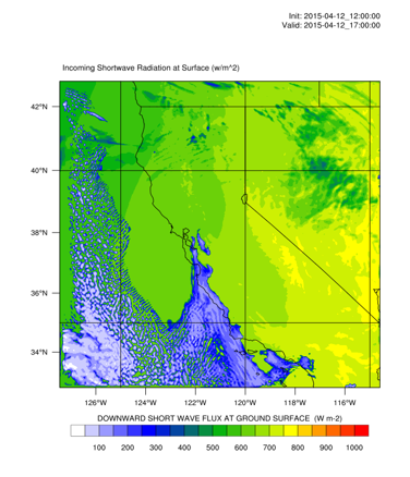Solar Radiation Forecasts for California at 2km resolution, showing stratus and fog along the coast