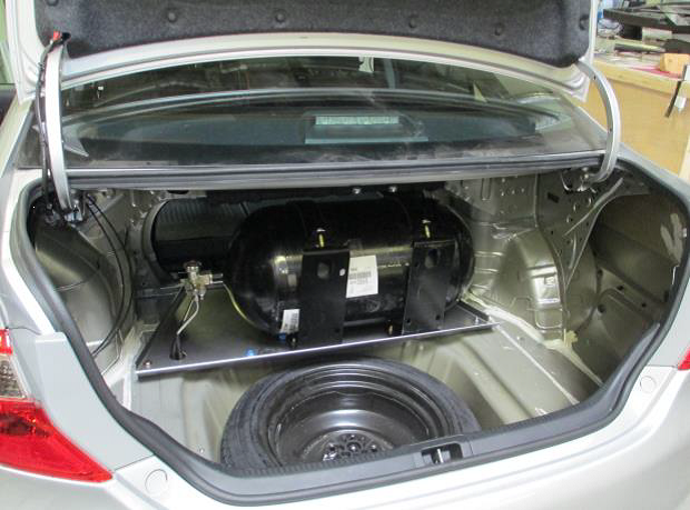Low-pressure adsorbed natural gas tank installed in a 2012 Toyota Camry.