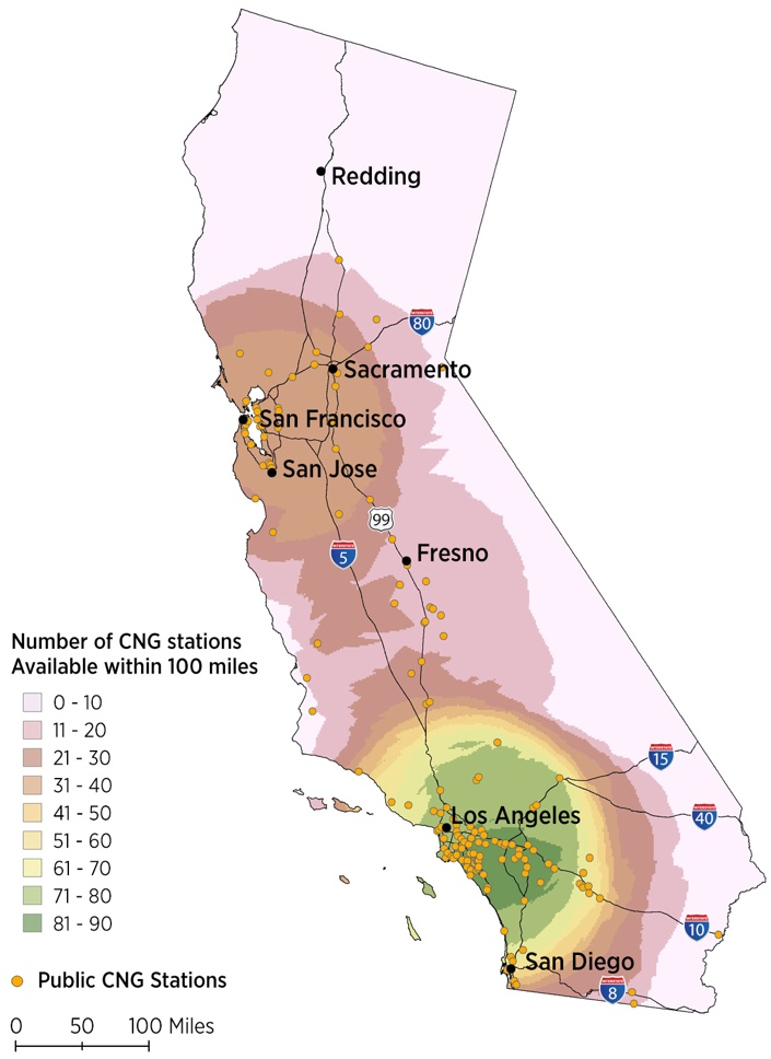 Density of CNG fueling infrastructure in California (December 2014)