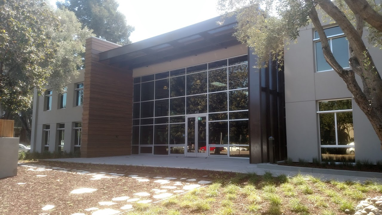 Entrance of project's building showing electrochromic windows tinted.
