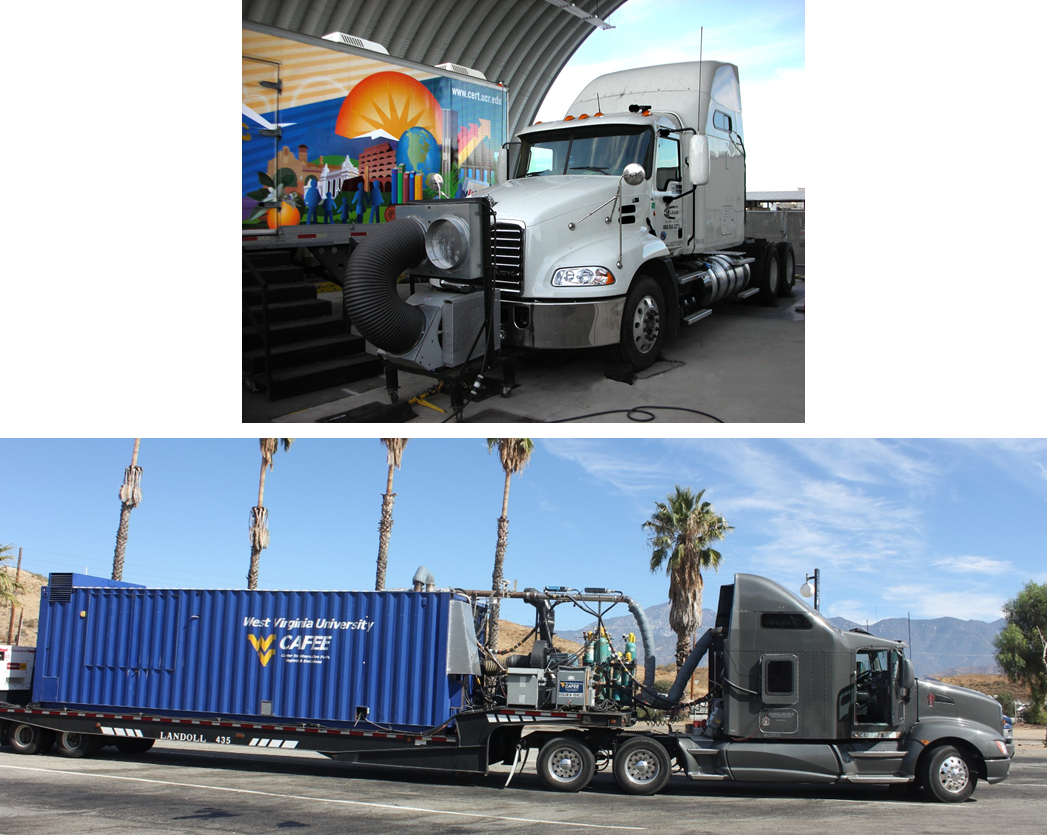 UCR's Mobile Emissions Laboratory and Chassis Dynamometer (top) and WVU's Transportable Emissions Measurement System (bottom)