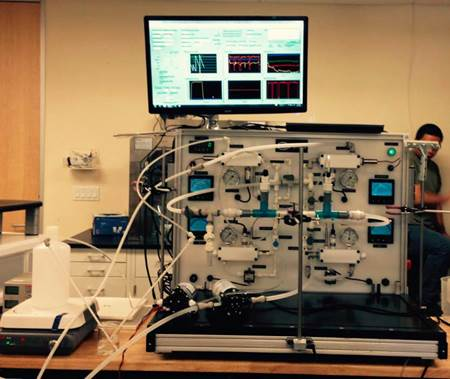 Laboratory test setup for forward osmosis membranes.