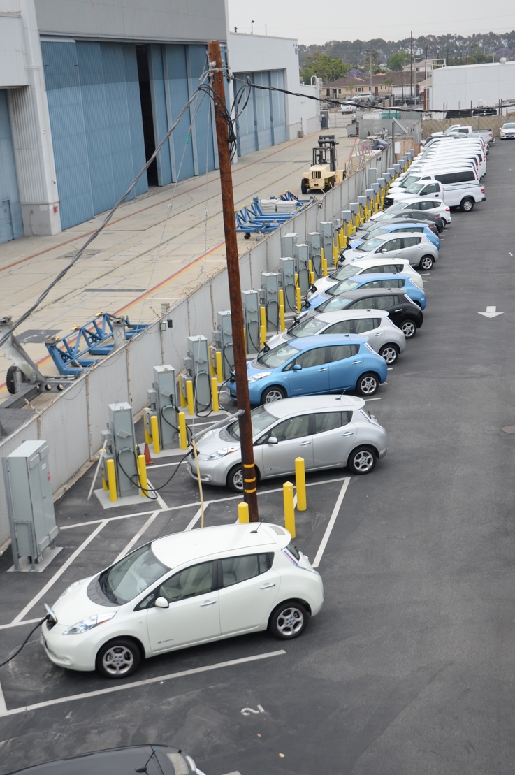 Electric vehicles at the Los Angeles Air Force Base