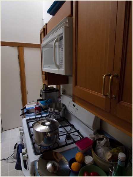 Microwave ventilation above cooking stove