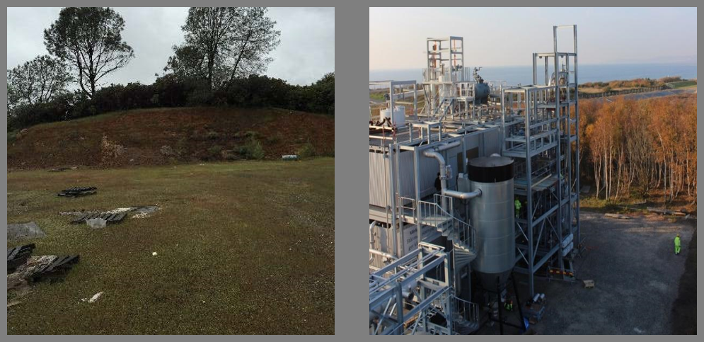 "View of planned project site (Left) and of a ""sister plant"" with Cortus Energy (Right) that will be the basis of the biomass plant in Mariposa."