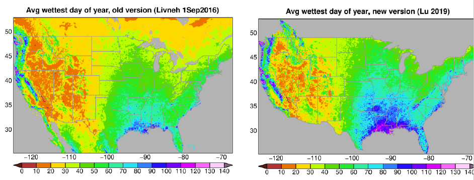 New gridded data based on meteorological observations (right-hand side) portraying historical precipitation shows maximum daily precipitation to be about 25-35% wetter than suggested by the prior (left-hand side) data set.